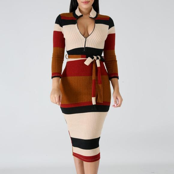 e67e59bb3249 Dresses | Womens Knit Stripe Ribbed Long Sleeve Midi Dress | Poshmark